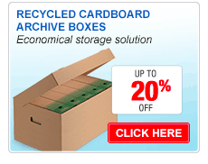 Recycled cardboard archive boxes
