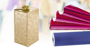 Kraft paper, metallic and coloured gift wrap