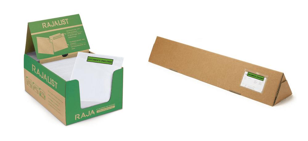 Rajalist green document enclosed envelope labels - go green with Rajapack
