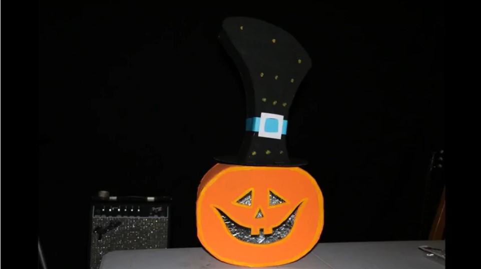 Cardboard pumpkin head