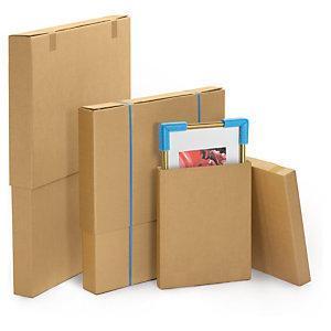 Double wall, flat telescopic cardboard boxes