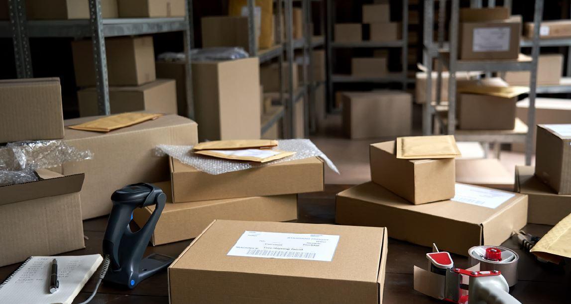 Small warehouse shelving area