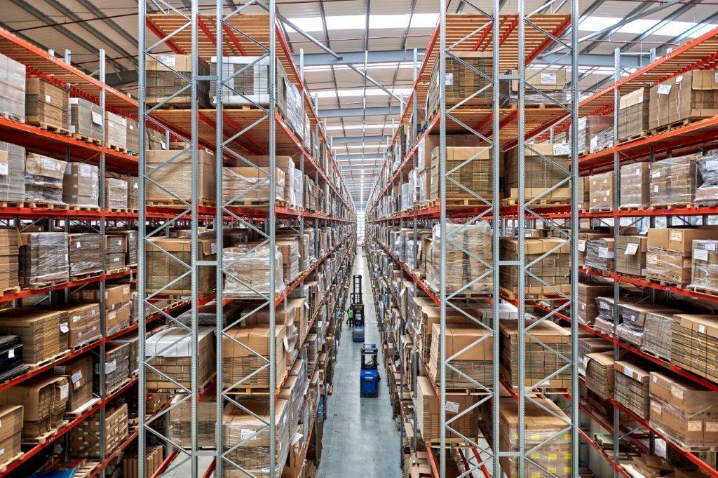 Racking in the RAJA UK Warehouse